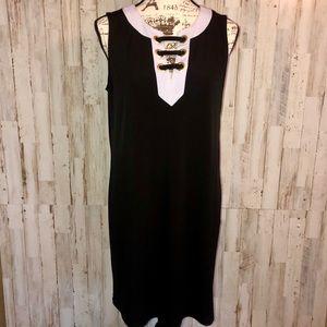 Michael Kors Black & Purple/Grey Lace Tank Dress